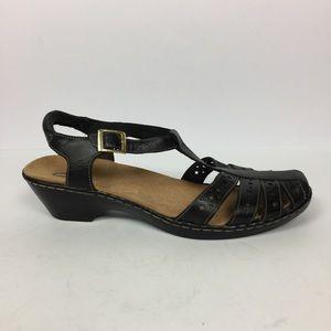 Clark Black Leather Sandal Closet Cap Toe Size 9W